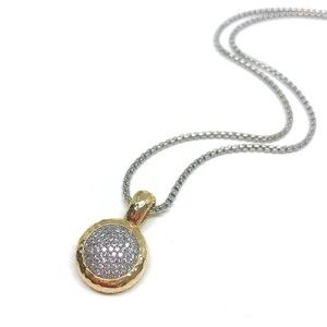 Round Cubic Ziconia Gold Pendant Chain Necklace